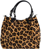 Brix And Bailey Leopard Calfhair Leather Medium Hobo Tote