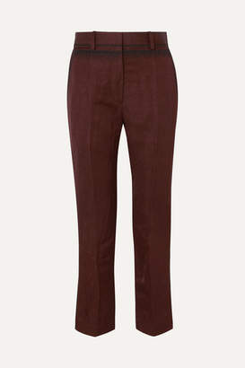 Haider Ackermann Cropped Embroidered Linen-blend Slim-leg Pants - Brown