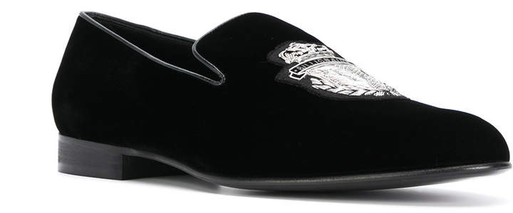 Billionaire crest embroidered loafers