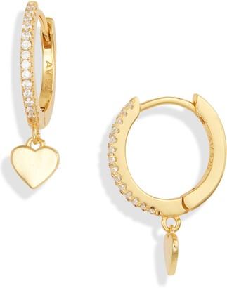 Argentovivo Heart Drop Huggie Hoop Earrings