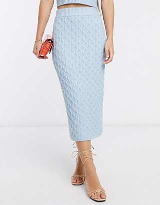 NATIVE YOUTH midi pencil skirt in cable knit co-ord