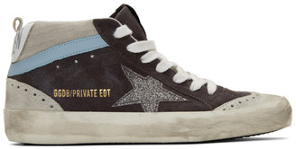 Golden Goose SSENSE Exclusive Grey Suede Glitter Mid Star Sneakers