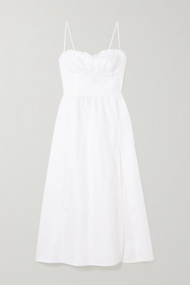 Reformation Prune Ruffled Linen Midi Dress - White