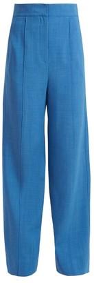 Roksanda Lapari Pintucked Wide Leg Trousers - Womens - Blue