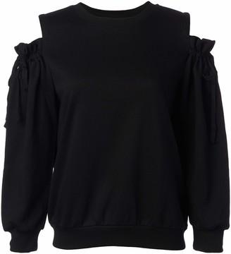 EVIDNT Women's Self Tie Detail Cold Shoulder Sweatshirts