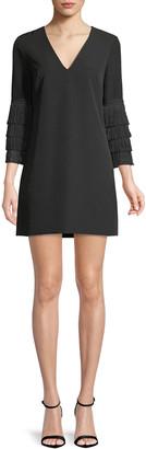 Milly Nicole Fringe-Cuff Shift Dress