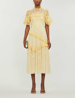 Needle & Thread x Jasmine Hemsley Earth Garden floral-embroidered recycled tulle midi dress