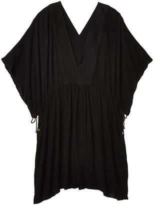 Lauren Ralph Lauren Plus Size Crinkle Rayon Tunic Dress (Black) Women's Swimwear