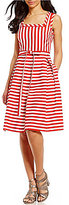 Anne Klein Square Neck Striped Fit & Flare Dress