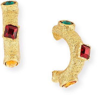 Kenneth Jay Lane Gemstone C-Hoop Clip Earrings