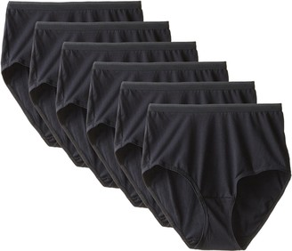 Fruit of the Loom Women's 6-Pack Brief All Black 7