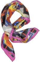Laura Biagiotti Pink and Multicolor Floral & Geometric Print Satin Silk Bandana