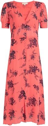 Michael Kors MICHAEL Floral Print Puff Sleeve Midi Dress, Coral Peach