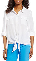 Allison Daley Button Down Tie-Front Solid Blouse