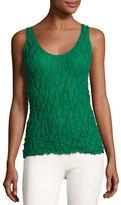 Akris Crinkle-Knit Scoop-Neck Tank Top, Green