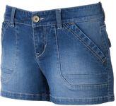 UNIONBAY Juniors' 2-Button Denim Shortie Shorts