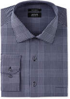 Alfani Men's Classic/Regular Fit Performance Navy/White Fine Plaid Dress Shirt, Only at Macy's