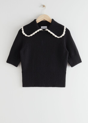 And other stories Wide Collar Wool Knit Sweater