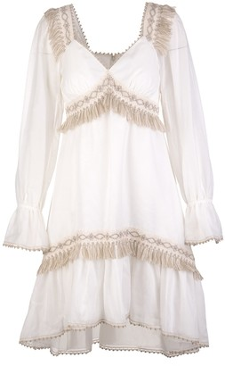 Blumarine Long Sleeves Dress With Embroidery And Fringes