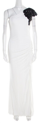 Badgley Mischka White Ruched Knit Contrast Embellished One Shoulder Gown L