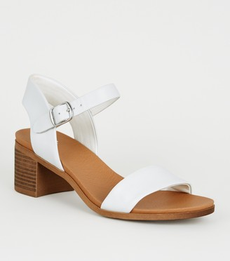 New Look Girls Leather-Look Heeled Footbed Sandals