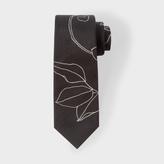 Paul Smith Men's Black 'Floral Outline' Narrow Silk Tie
