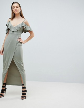 Ivyrevel Cold Shoulder Maxi Dress with Wrap Front-Green