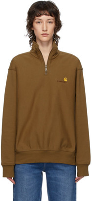 Carhartt Work In Progress Brown American Script Half-Zip Pullover