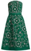 Oscar de la Renta Swirl-embroidered strapless silk dress