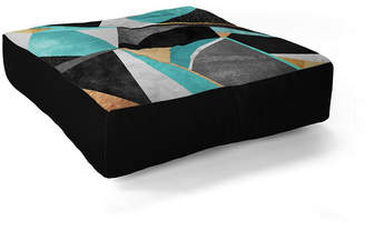 Deny Designs Elisabeth Fredriksson Turquoise Geometry Square Floor Pillow