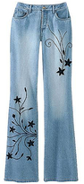 Embroidered boot-cut jeans
