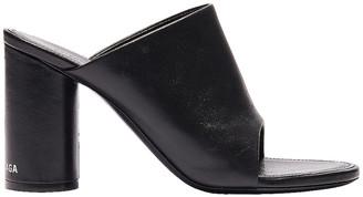Balenciaga Oval Open Toe Mules in Black & White | FWRD