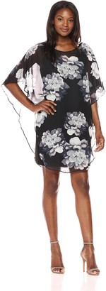 Connected Apparel Women's Printed Chiffon Overlay with Solid Scuba Dress