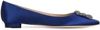 Manolo Blahnik 10mm Hangisi Silk Satin Flats