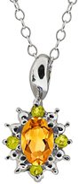 Gem Stone King 0.48 Ct Oval Yellow Citrine and Canary Diamond 14k White Gold Pendant