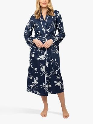 Nora Rose by Cyberjammies Scarlett Bird Print Dressing Gown, Navy
