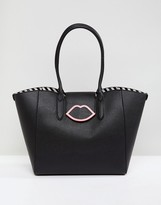 Lulu Guinness Black Tote Back in Foldover Lips Detail
