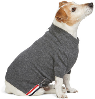 Thom Browne Grey Cashmere 4-Bar Dog Sweater