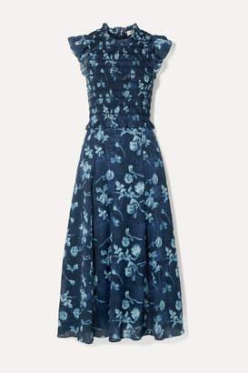 Sea Monet Ruffled Shirred Floral-print Cotton-voile Midi Dress - Blue