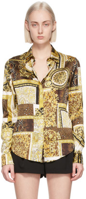 Versace Brown and Gold Silk Barocco Patchwork Shirt