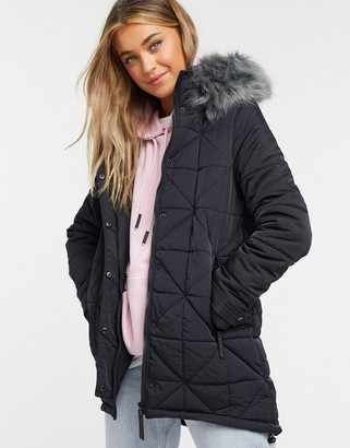 Urban Bliss parka with faux fur hood in black