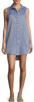 Onia Kaylee Sleeveless Chambray Tunic Dress, Blue