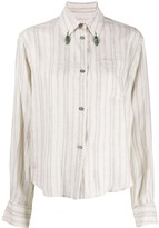 Romeo Gigli Pre Owned 1990s bead details striped shirt
