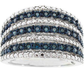 Affinity Diamond Jewelry Affinity 1/4 cttw Blue Diamond Wide Band Ring, Sterling