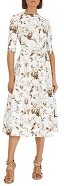 Oscar de la Renta Pleated Skirt Day Dress