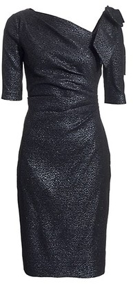 Teri Jon by Rickie Freeman Bow Metallic Cocktail Dress