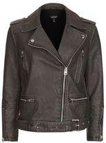 Oversized faux leather biker jacket