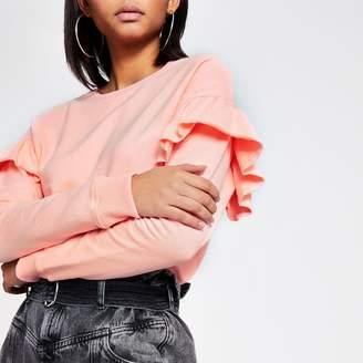 River Island Womens Pink long sleeve frill shoulder sweatshirt