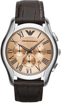 Emporio Armani Unisex Chronograph Brown Croco Leather Strap Watch 45mm AR1785