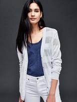 Cotton textured stripe V-neck cardigan